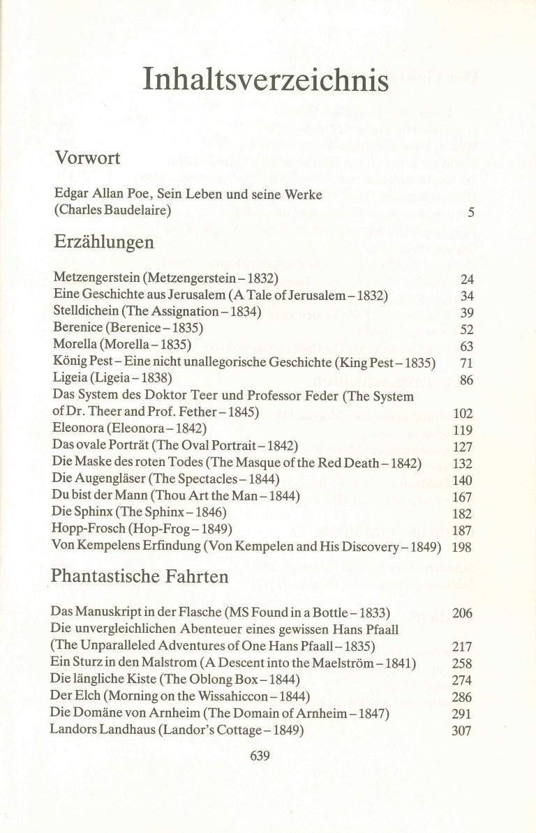 A. E. Poe - Erzählungen - Inhalt Seite 1