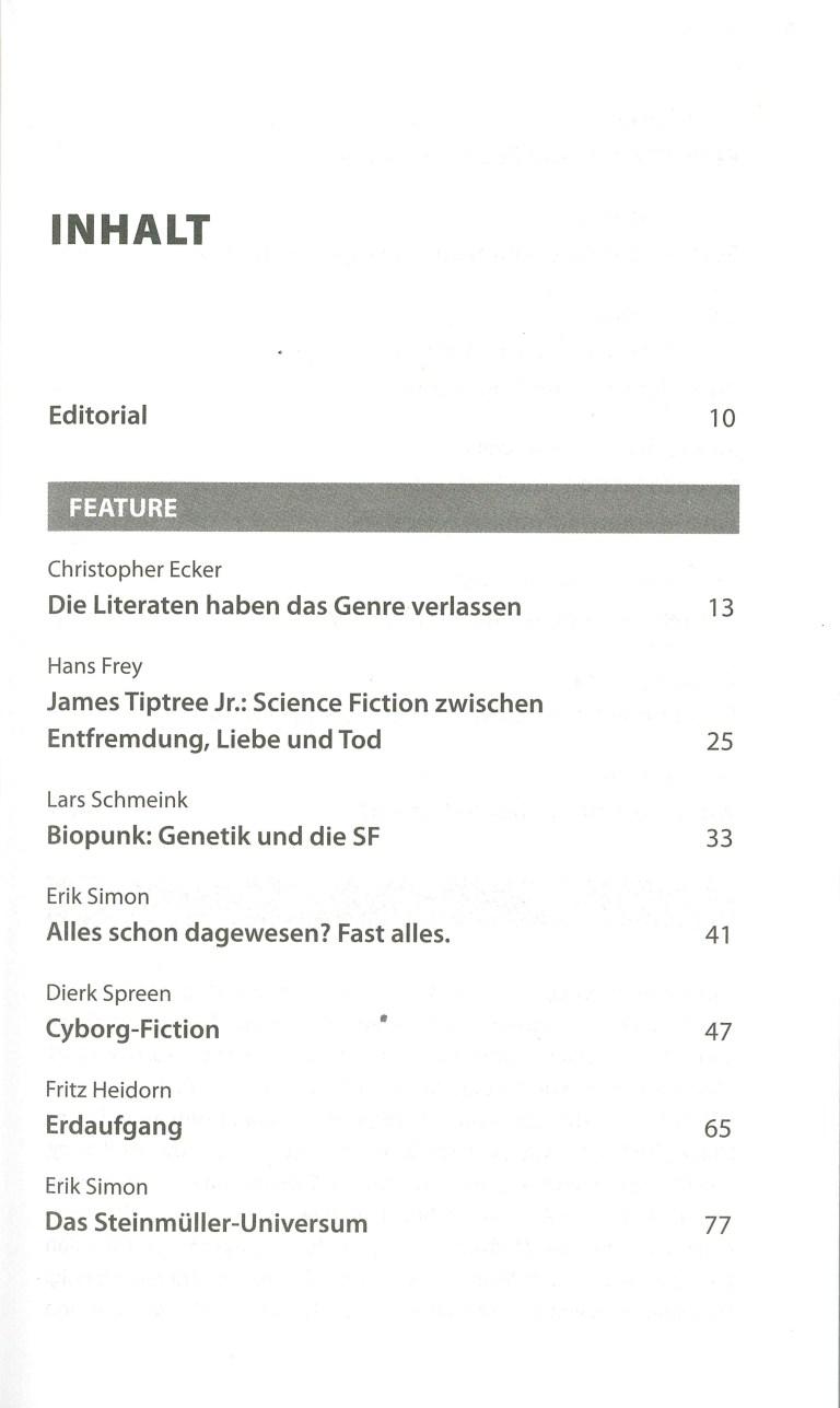 Science Fiction Jahr 2019 - Inhalt Seite 1