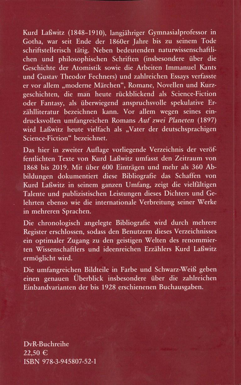 Kurd Laßwitz, Biblographie 1868-2019 - Rückencover