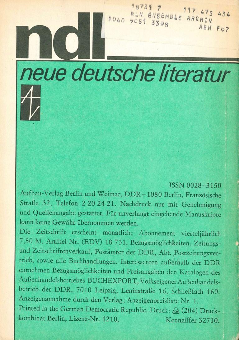 Neue deutsche Literatur, 7/82 - Rückencover