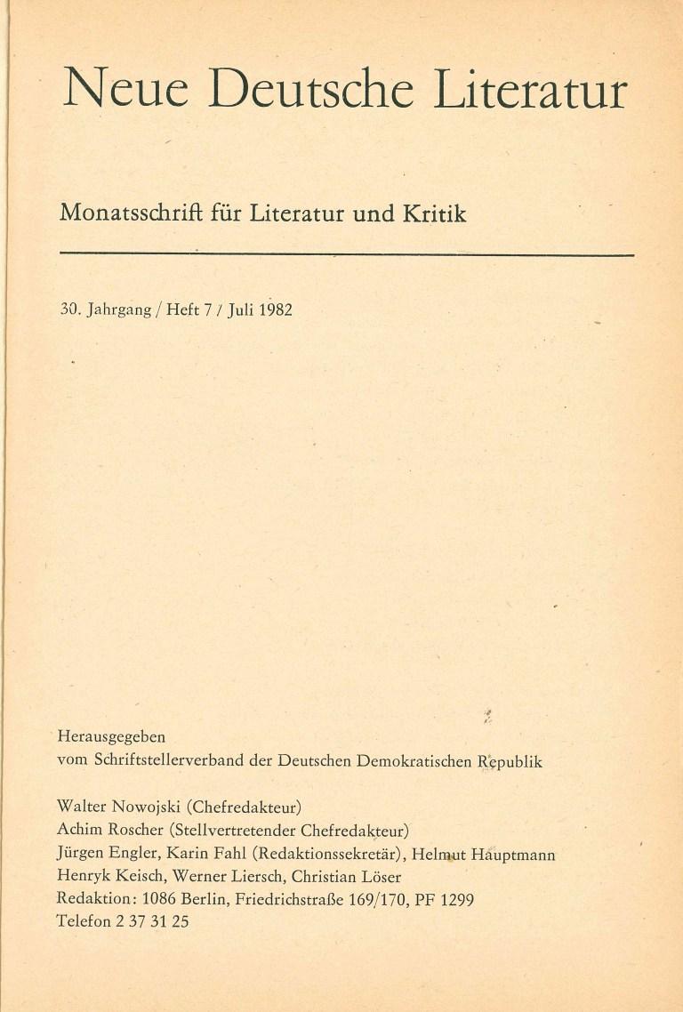 Neue deutsche Literatur, 7/82 - Impressum