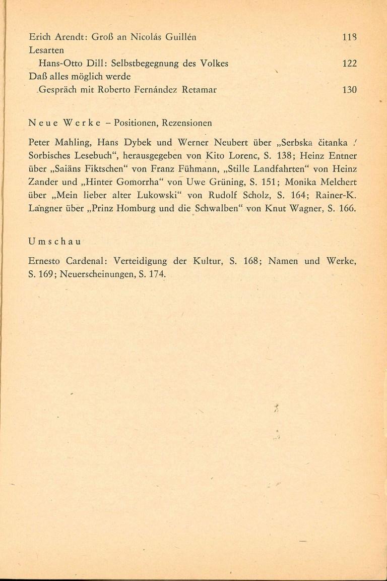 Neue deutsche Literatur, 7/82 - Inhalt Seite 2
