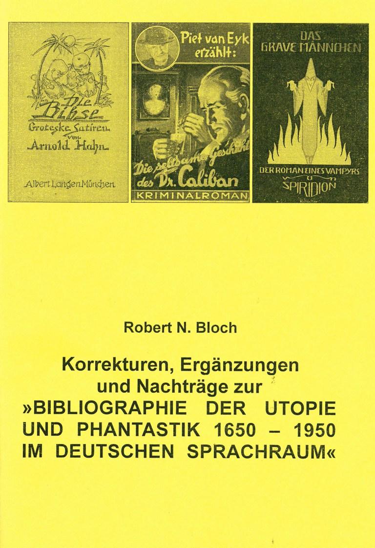 Ergänzungsband zur Bibliographie der Utopie und Phantastik 1650-1950 - Titelcover