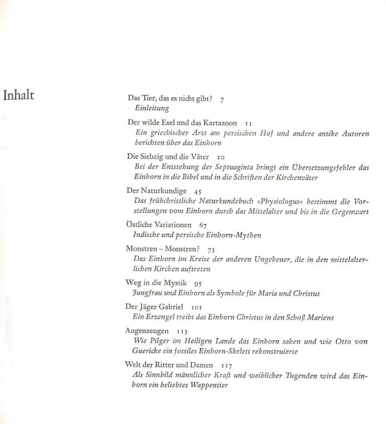 Einhorn, Fabelwelt, Wirklichkeit - Inhalt Seite 1