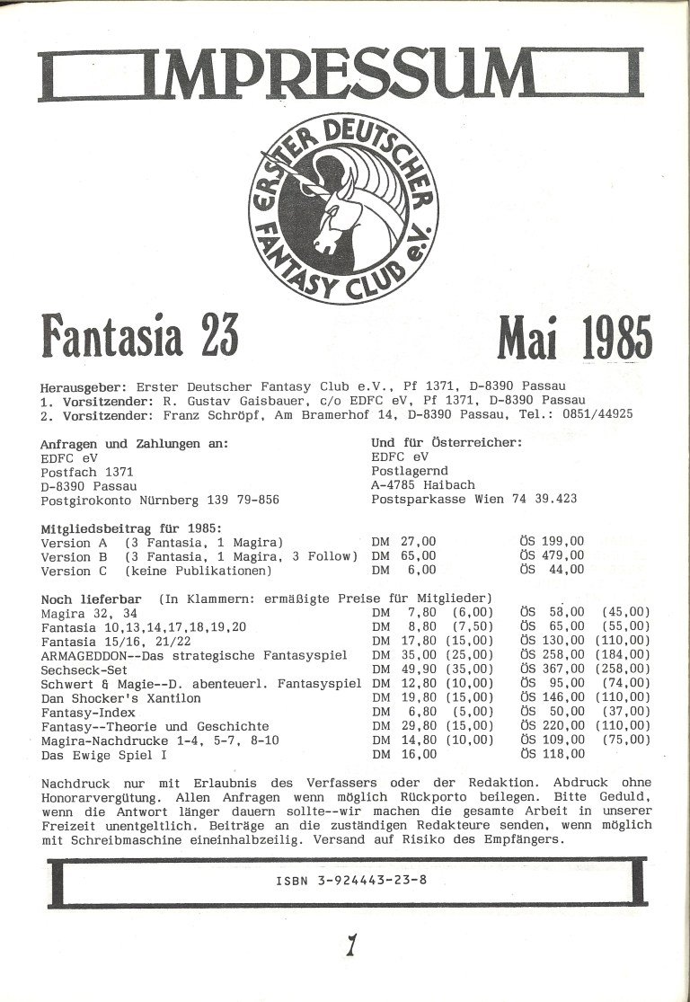 Fantasia 23 - 1. Kongreß der Phantasie - Impressum