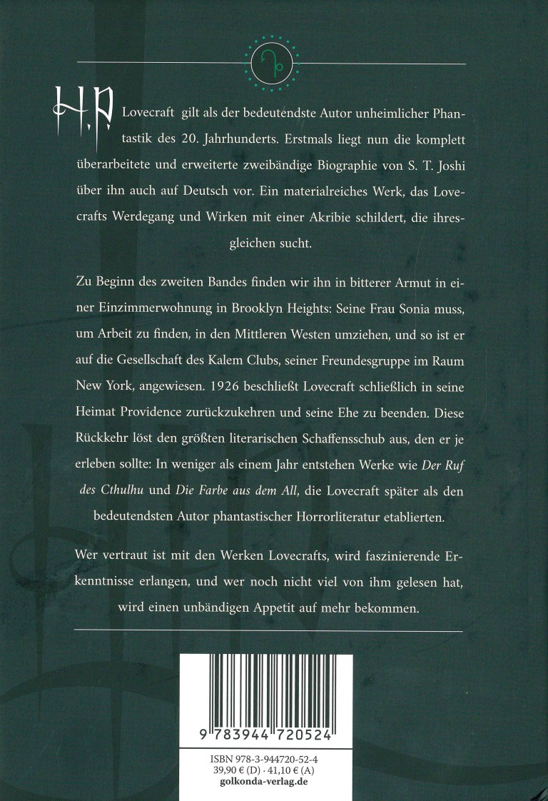 H. P. Lovecraft, Leben und Werk, Teil 2 - Rückencover