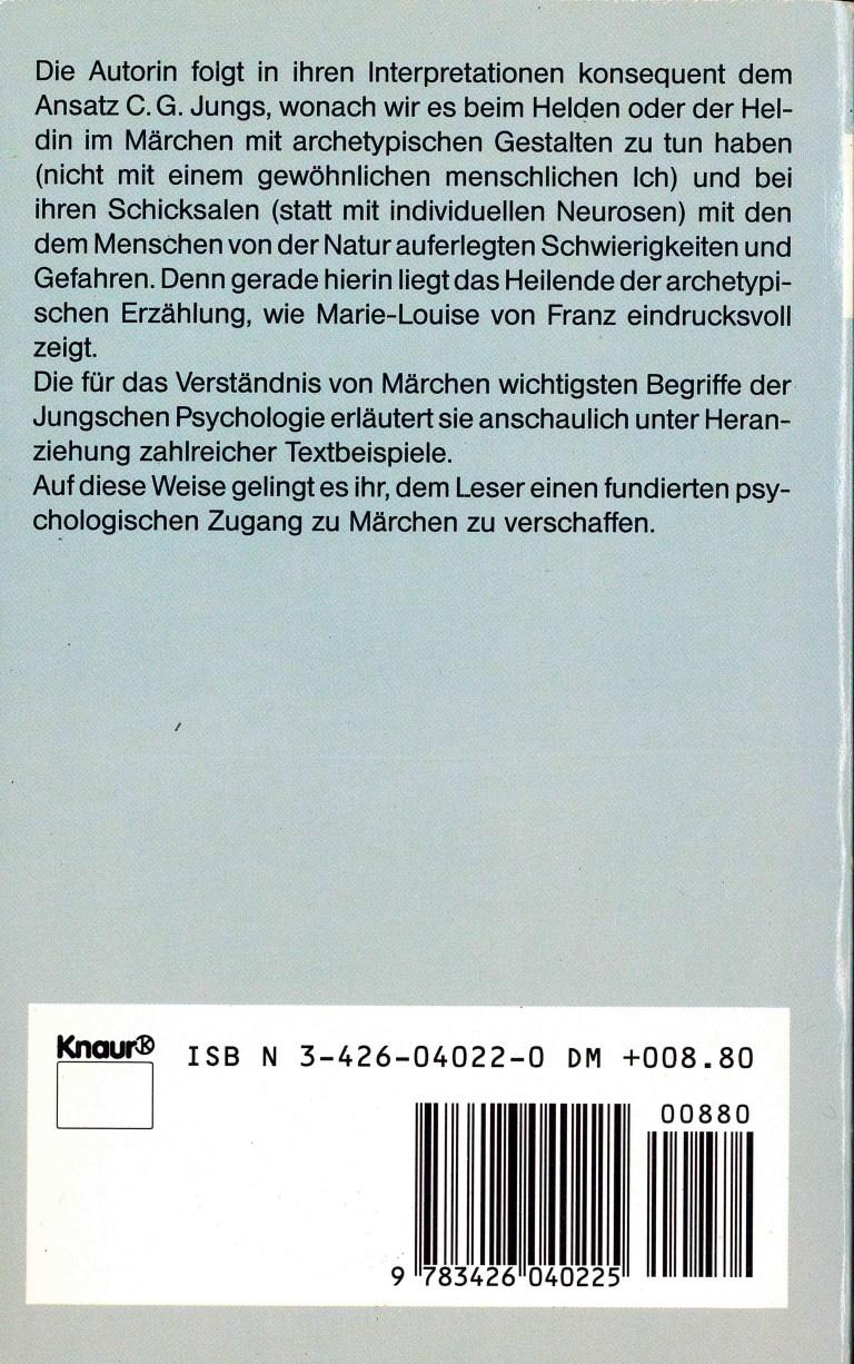 Psychologische Märcheninterpretationen - Rückencover