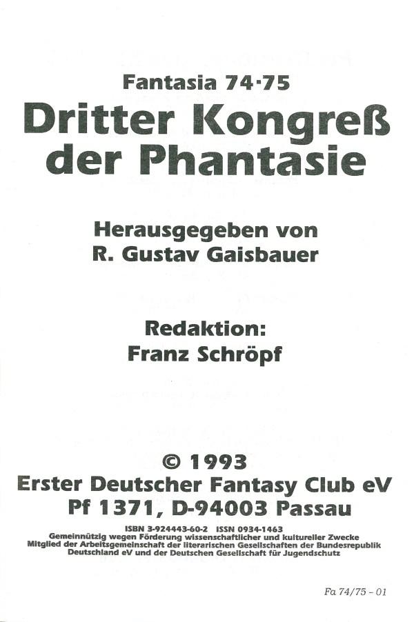 Fantasia 74/75 Dritter Kongress der Phantasie - Impressum