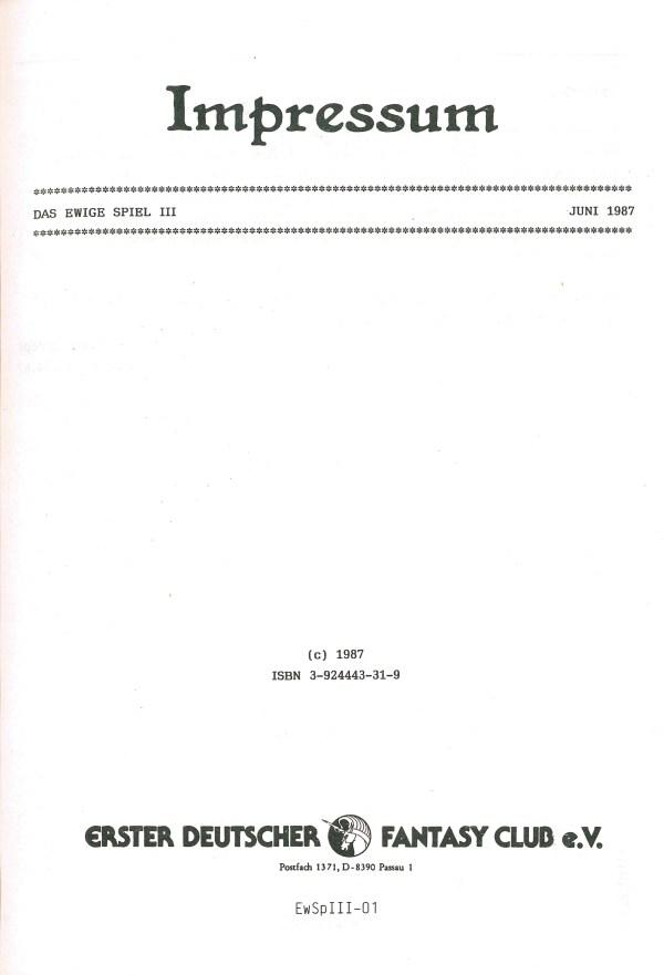 Das ewige Spiel, Band 3 - Impressum