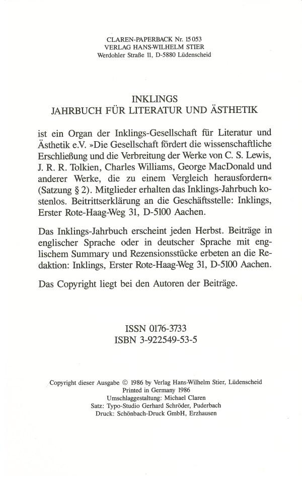Inklings-Jahrbuch, Band 4 - Impressum