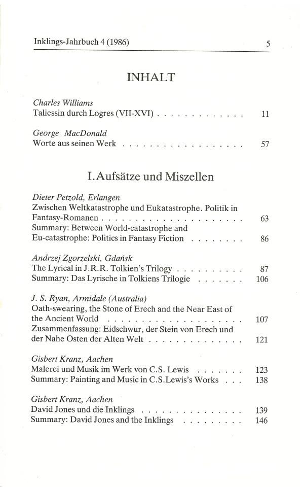 Inklings-Jahrbuch, Band 4 - Inhalt Seite 1