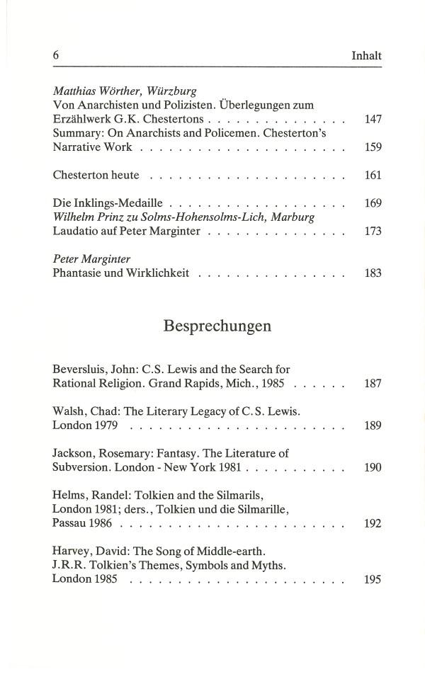 Inklings-Jahrbuch, Band 4 - Inhalt Seite 2