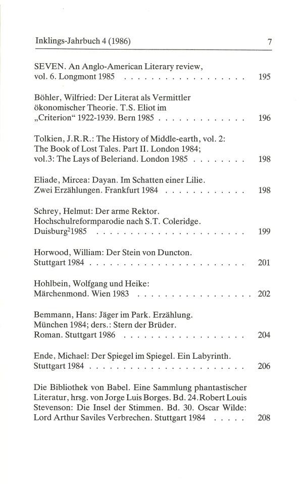 Inklings-Jahrbuch, Band 4 - Inhalt Seite 3