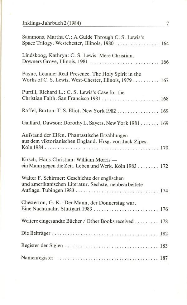 Inklings-Jahrbuch, Band 2 - Inhalt Seite 3