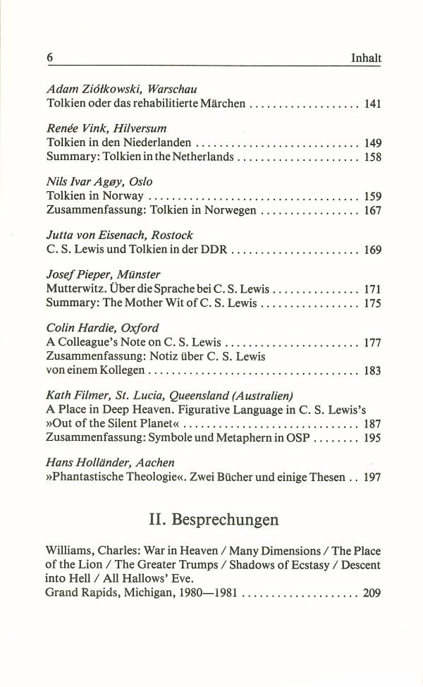 Inklings-Jahrbuch, Band 3 - Inhalt Seite 2