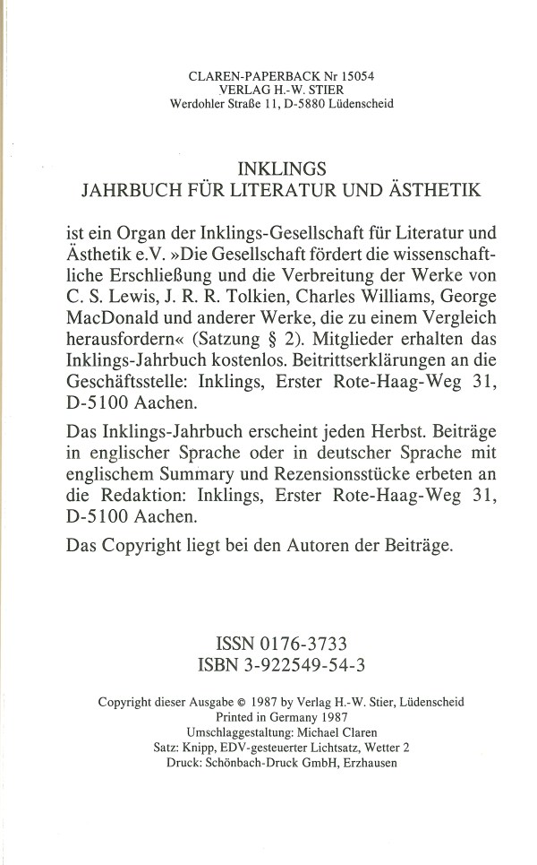 Inklings-Jahrbuch, Band 5 - Impressum