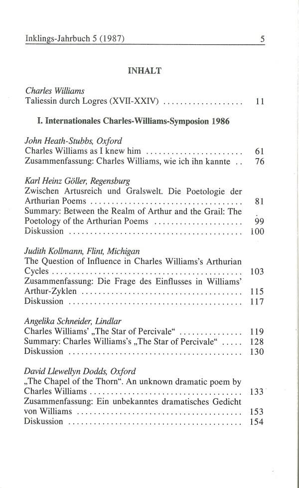 Inklings-Jahrbuch, Band 5 - Inhalt Seite 1