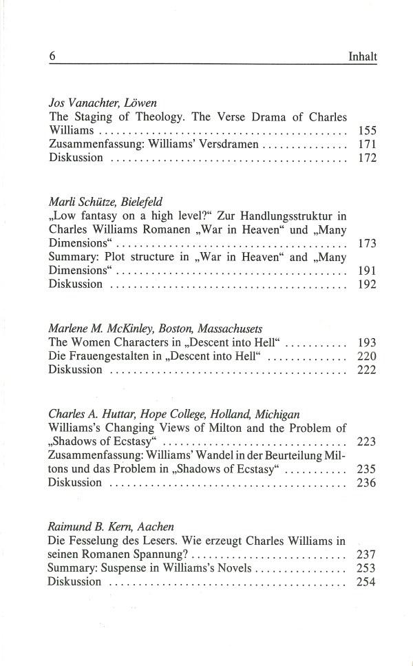 Inklings-Jahrbuch, Band 5 - Inhalt Seite 2