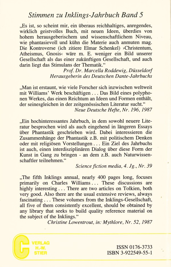 Inklings-Jahrbuch, Band 6 - Rückencover