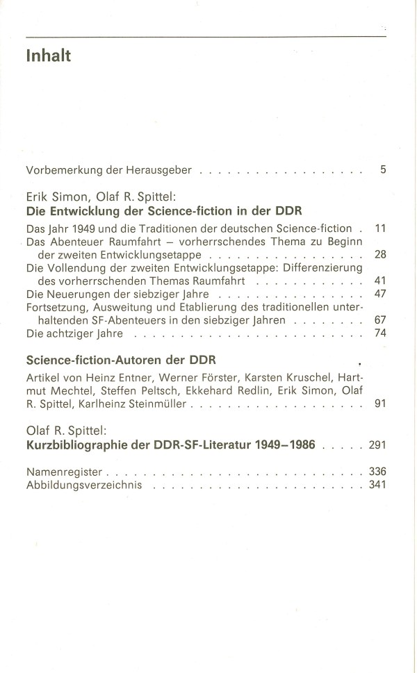 Die Science-fiction der DDR. Autoren und Werke - Inhalt