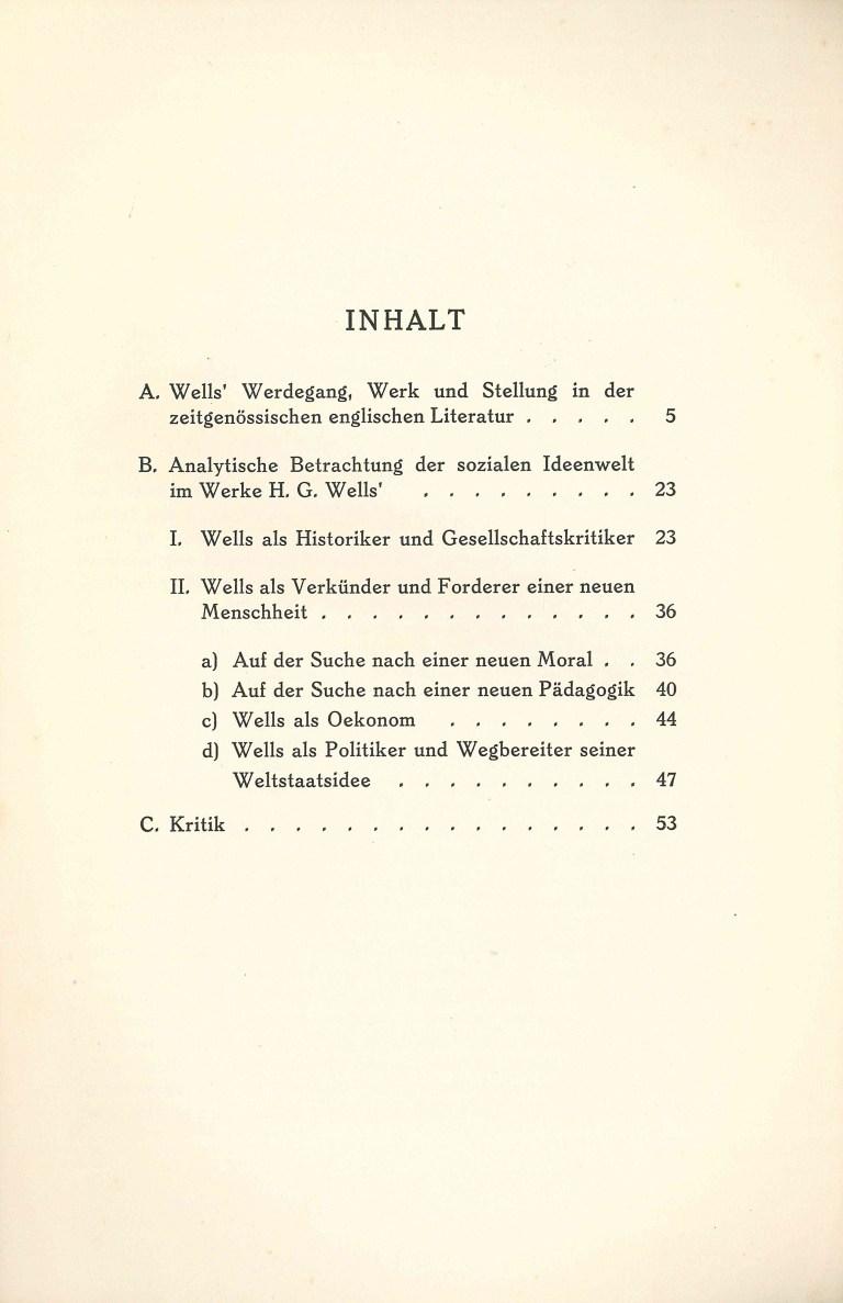 Der soziale Gedanke im Werk von H. G. Wells - Inhalt
