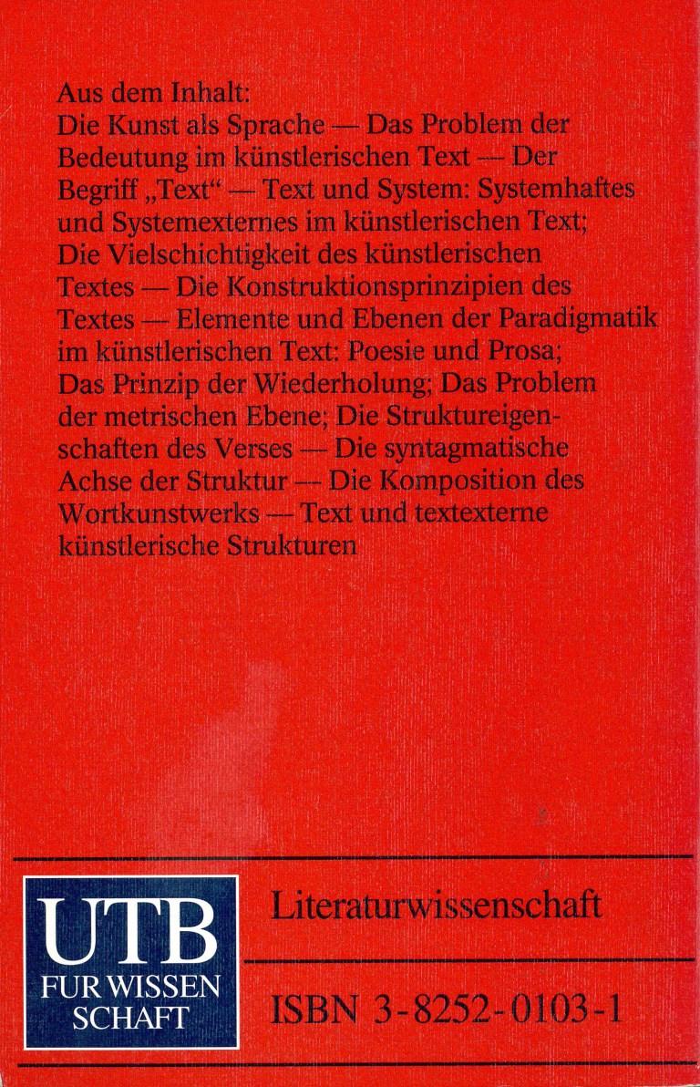 Die Struktur literarischer Texte - Rückencover