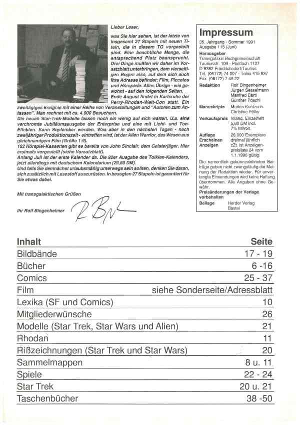 Transgalaxis, Nr. 115, Sommer 1991 - Impressum und Inhalt