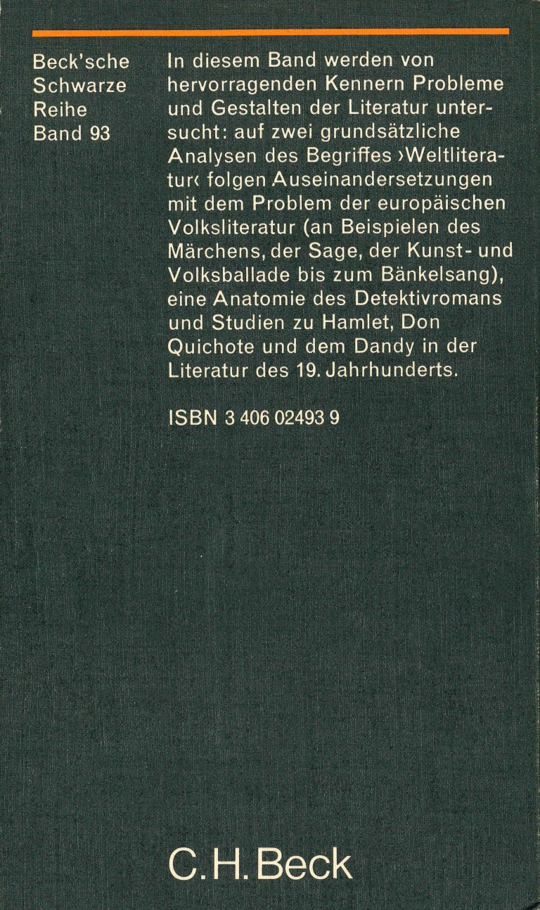 Weltliteratur und Volksliteratur - Rückencover