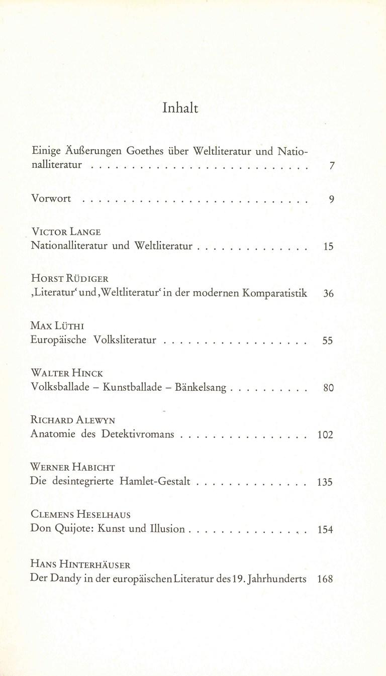 Weltliteratur und Volksliteratur - Inhalt Seite 1