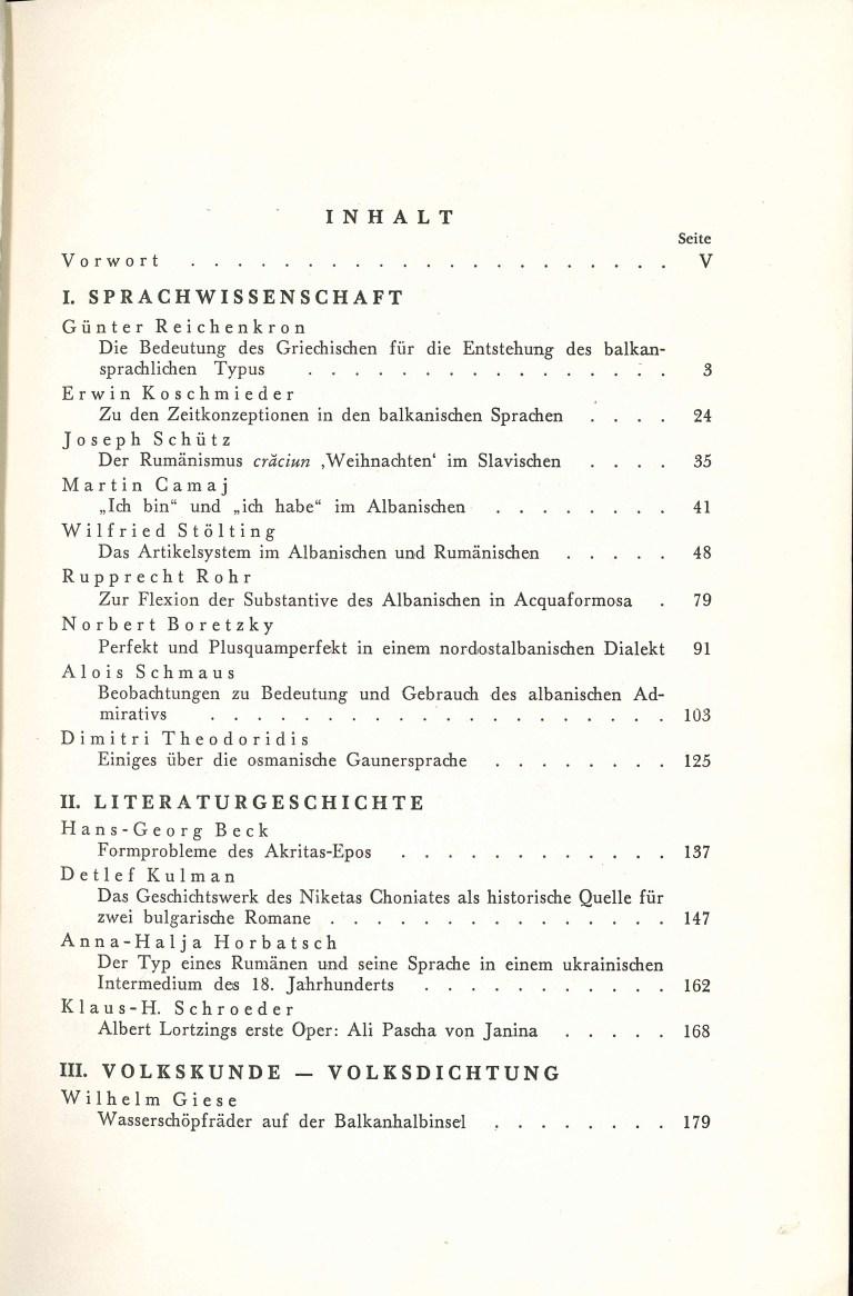 Beiträge zur Südosteuropaforschung - Inhalt Seite 1