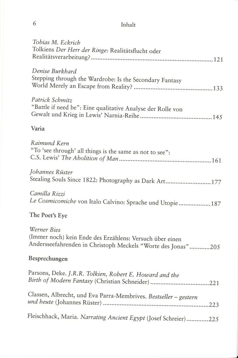 Inklings-Jahrbuch, Band 34 - Inhalt Seite 2