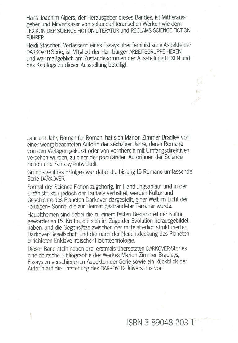 "Marion Zimmer Bradleys ""Darkover"" - Rückencover"
