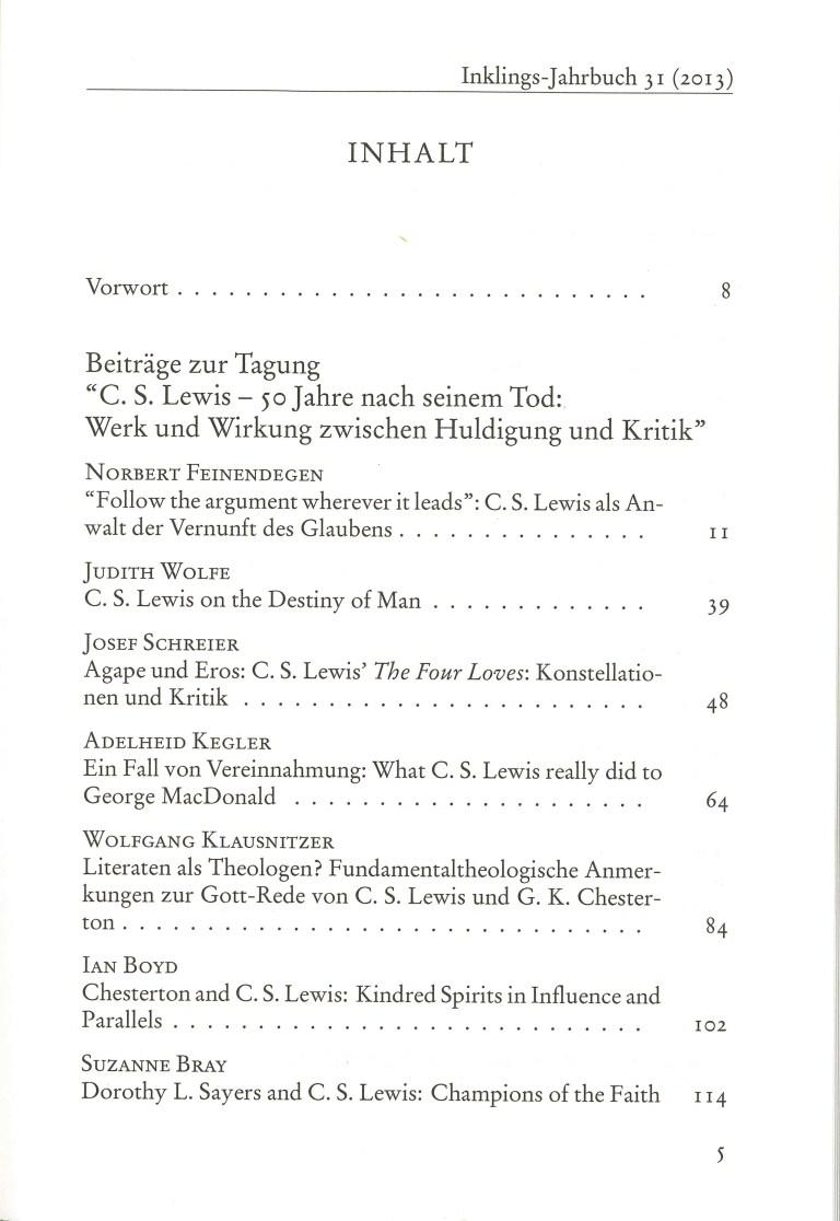 Inklings - Jahrbuch, Nr. 31 - Inhalt Seite 1