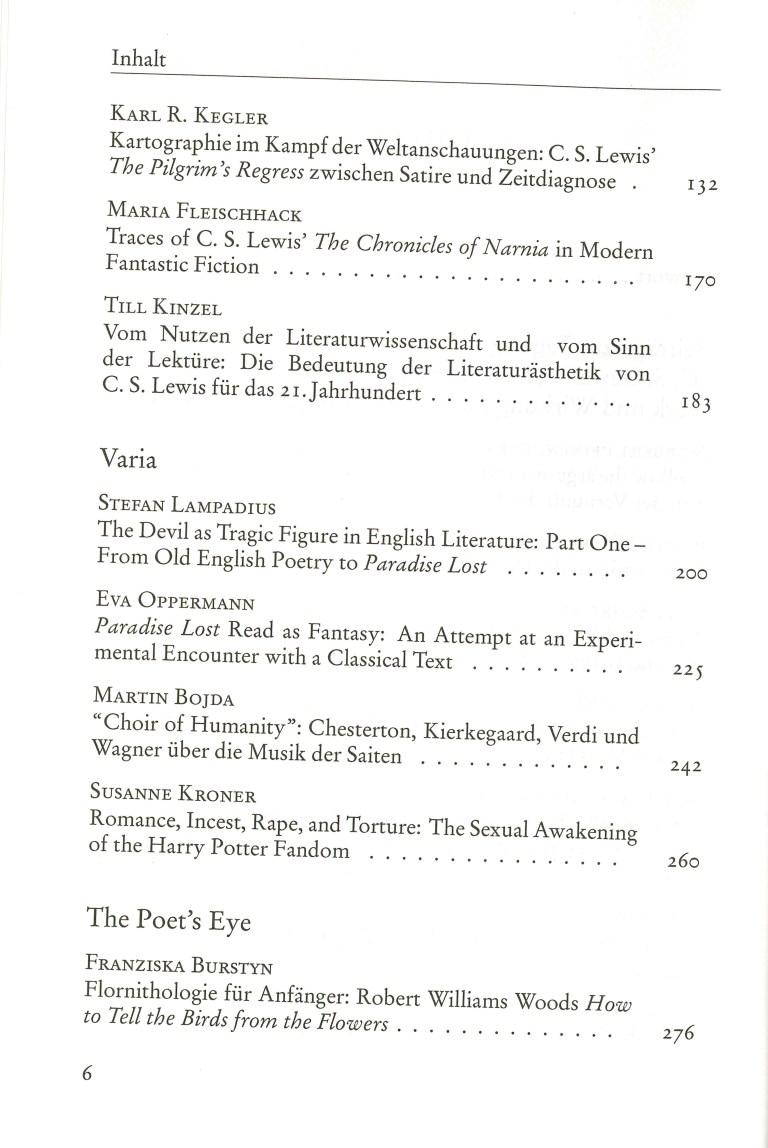 Inklings - Jahrbuch, Nr. 31 - Inhalt Seite 2