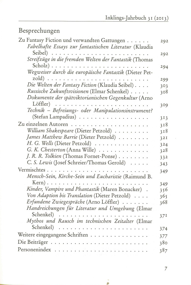 Inklings - Jahrbuch, Nr. 31 - Inhalt Seite 3