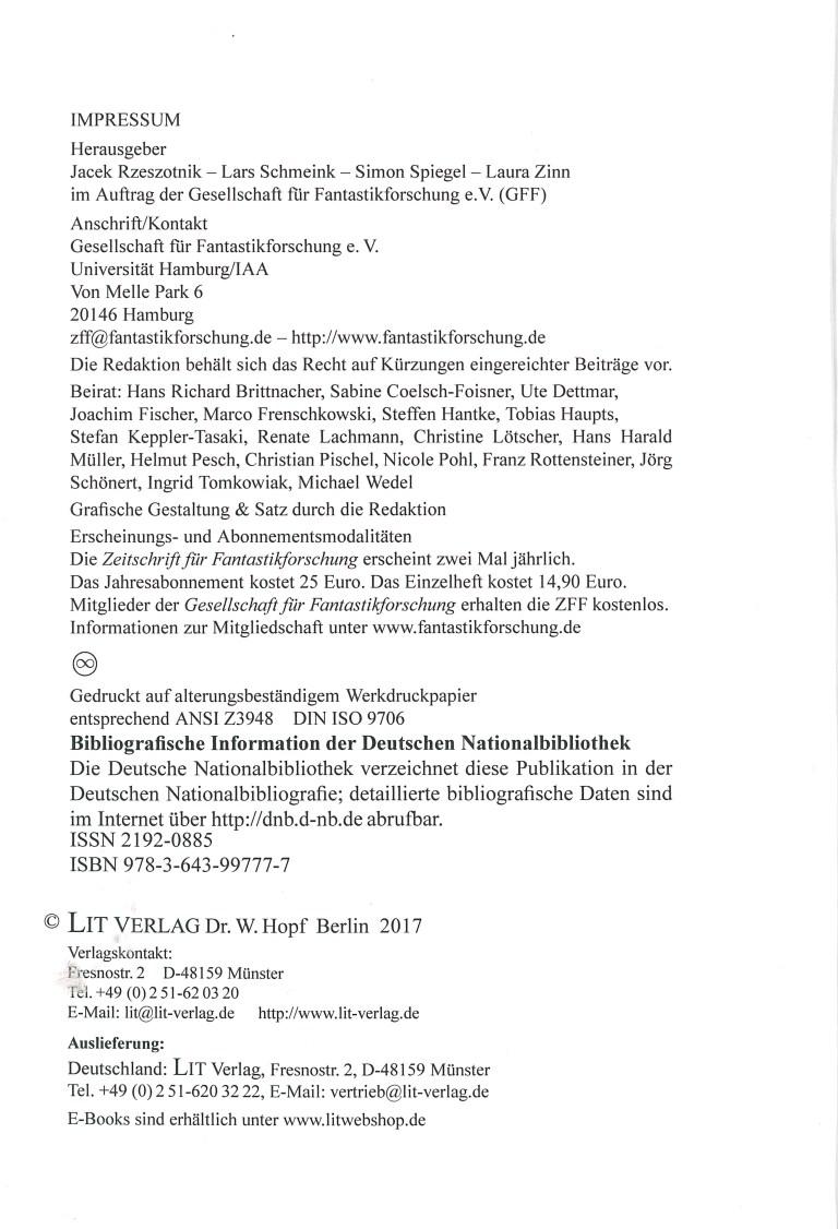 Zeitung für Fantstikforschung (ZFF), 2/2016 - Impressum