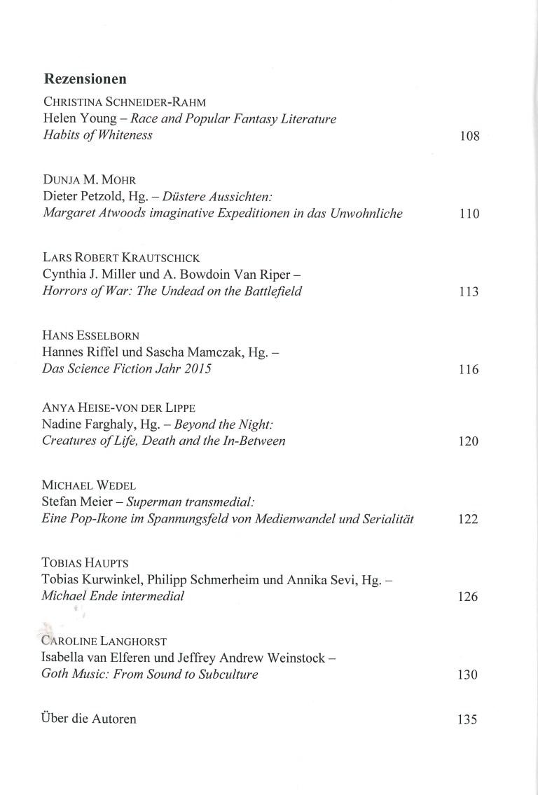 Zeitung für Fantstikforschung (ZFF), 2/2016 - Inhalt Seite 2