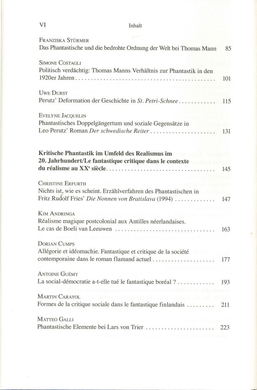 Phantastik und Gesellschaftskritik im deutschen, niederländischen und nordischen Kulturraum - Inhalt Seite 2