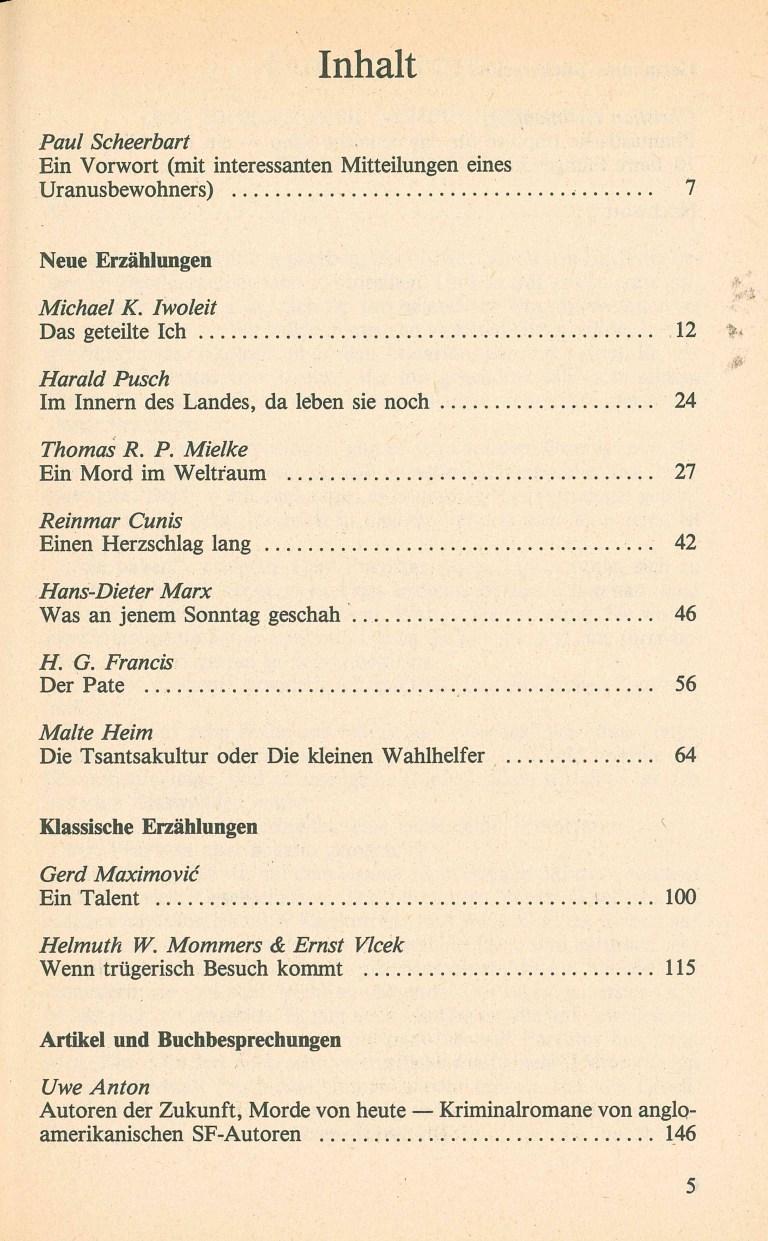 Science Fiction Alamanach 1985 - Inhalt Seite 1