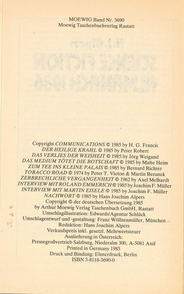 Science Fiction Almanach 1986 - Impressum