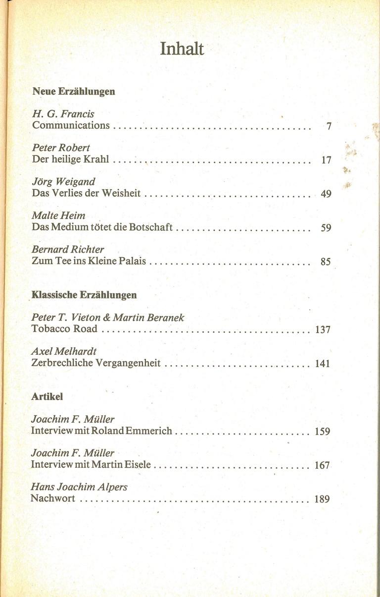 Science Fiction Almanach 1986 - Inhalt