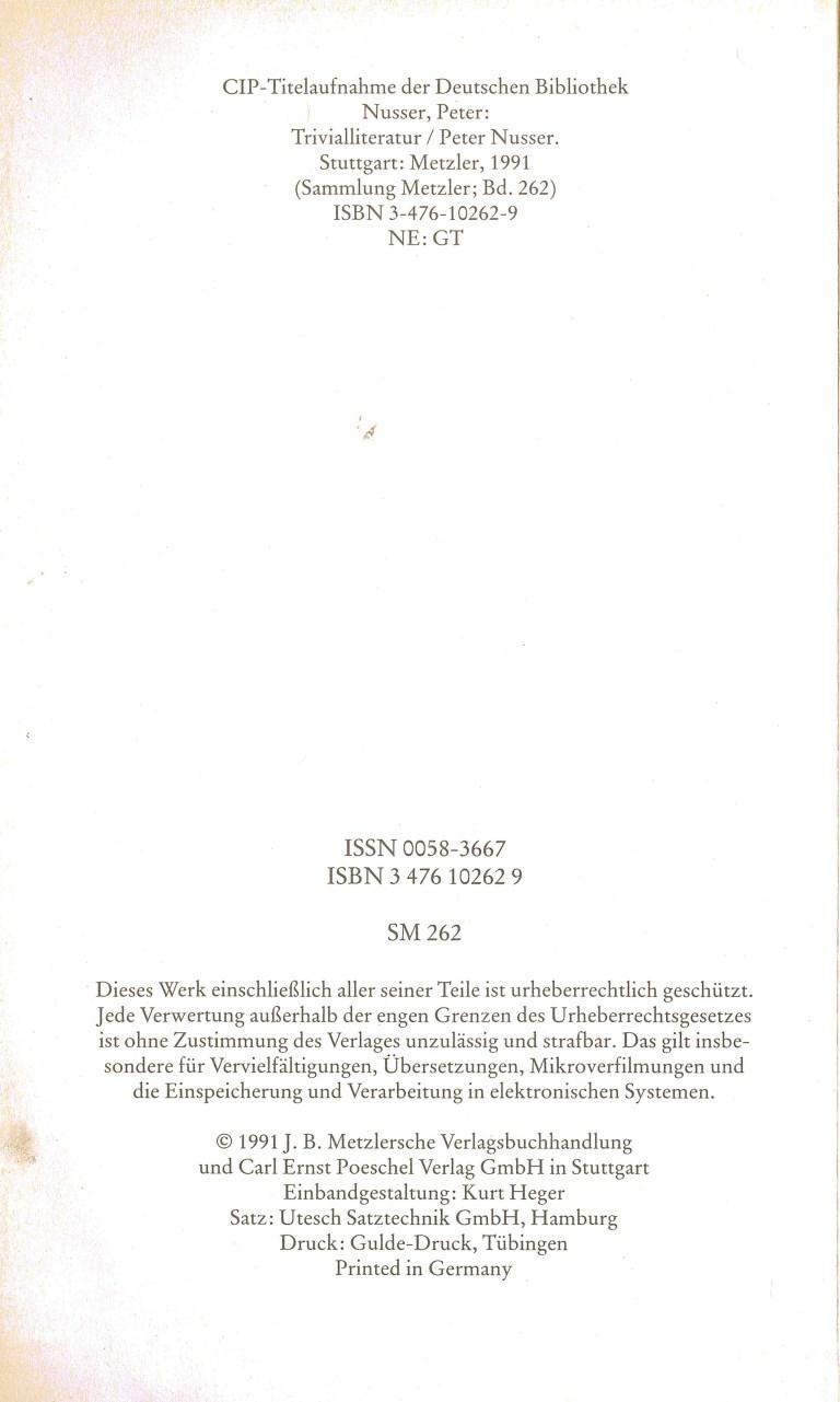 Trivialliteratur - Impressum