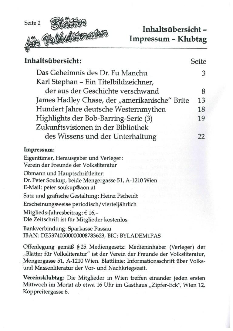 Blätter für Volksliteratur 3/2020 - Impressum und Inhalt