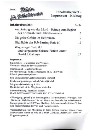 Blätter für Volksliteratur 4/2020 - Impressum und Inhalt