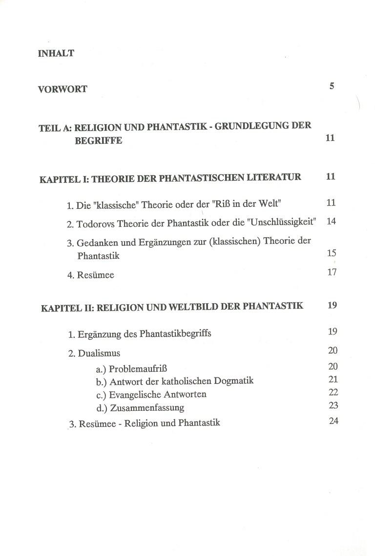 Religion und Phantastik - Inhalt Seite 1