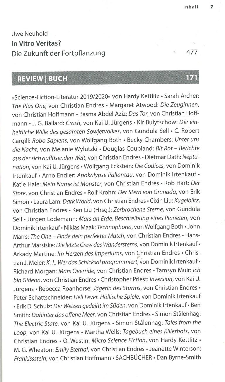 Das Science Fiction Jahr 2020 - Inhalt Seite 3