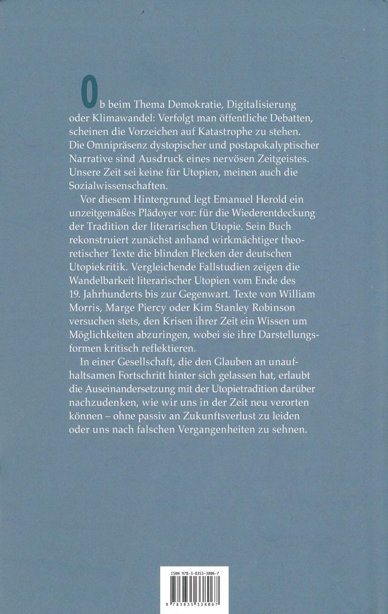 Utopie in utopiefernen Zeiten - Rückencover
