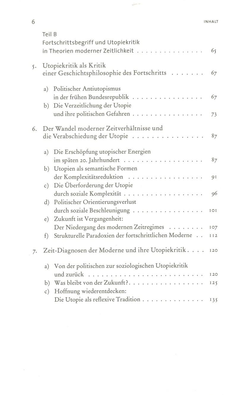 Utopie in utopiefernen Zeiten - Inhalt Seite 2