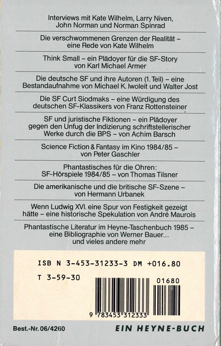 Das Science Fiction Jahr 1986 - Rückencover