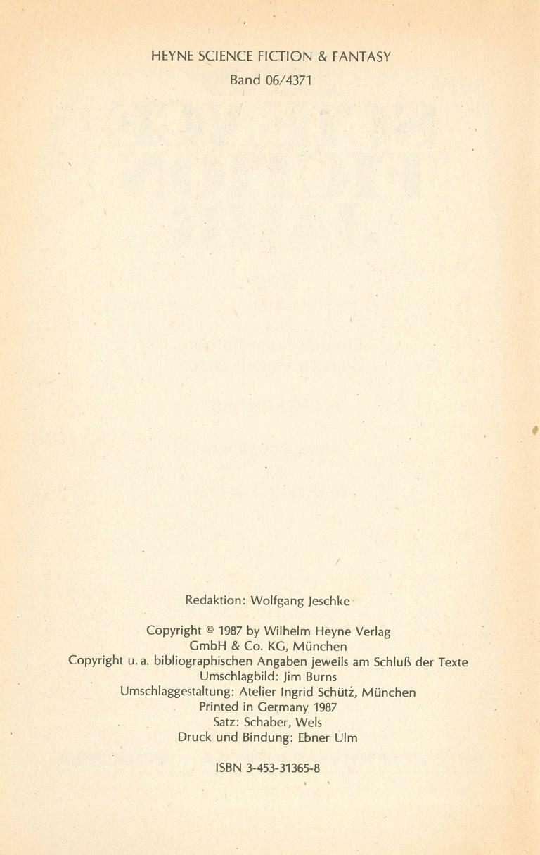 Science Fiction Jahr 1987 - Impressum